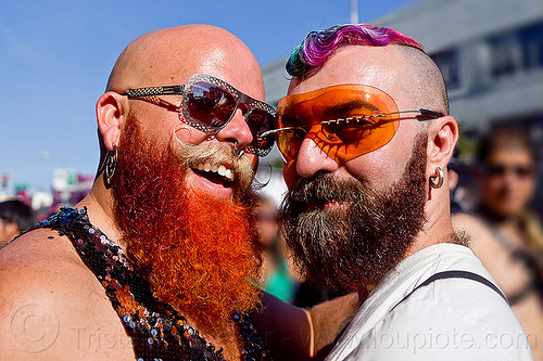 bearded men - dusti cunningham and friend, bald, diablodivine, dusti cunningham, folsom street fair, friends, men, red beard, sunglasses, two