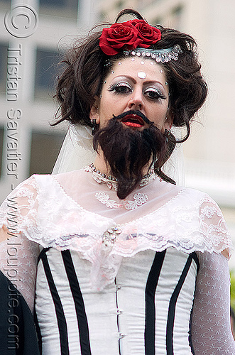 bearded woman - brides of march (san francisco), beard, bearded woman, bride, brides of march, pamela, wedding, white