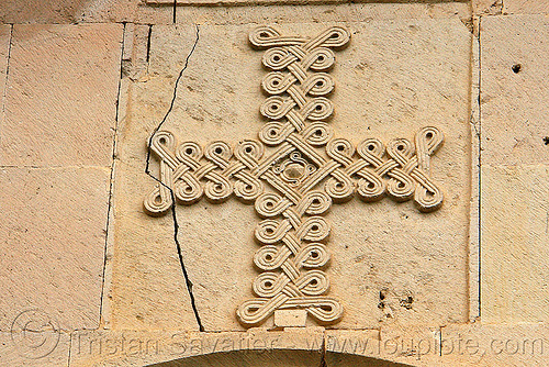 beautiful cross low-relief stone carving - Işhan monastery - georgian church ruin (turkey), byzantine architecture, cross, decoration, detail, geometric, georgian church ruins, ishan church, ishan monastery, işhan, low-relief, motives, orthodox christian