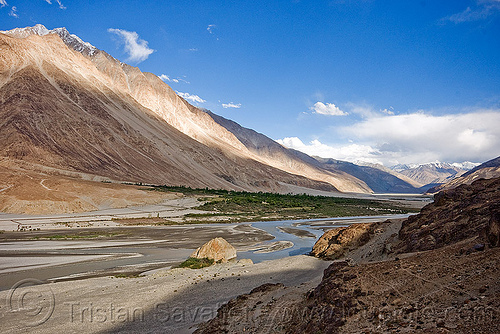 beautiful nubra valley - ladakh (india), india, ladakh, mountains, nubra valley, river bed, satti