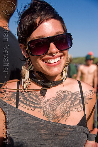 beautiful phoenix tattoo, bird tattoo, chest tattoo, jacqulynn, phoenix tattoo, sunglasses, tattooed, tattoos, woman