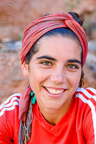beautiful smile - pilar pitòn, adidas, argentina, eyebrows, green eyed, green eyes, head band, noroeste argentino, pilar, quebrada de humahuaca, red, woman
