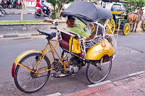 becak motor, becak motor, cycle rickshaw, java, jogja, jogjakarta, man, parked, street, yogyakarta