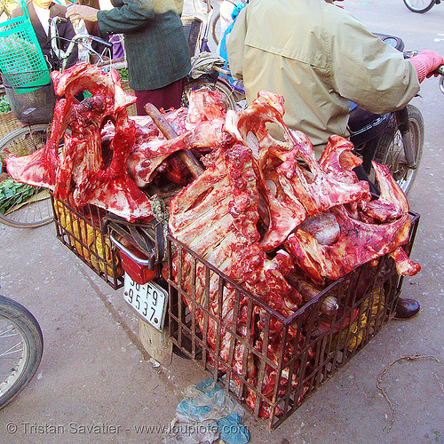 beef carcass, beef, bloody, bones, butcher, carcass, carcasses, lang sơn, meat market, meat shop, motorbike, motorcycle, raw meat, red, street market