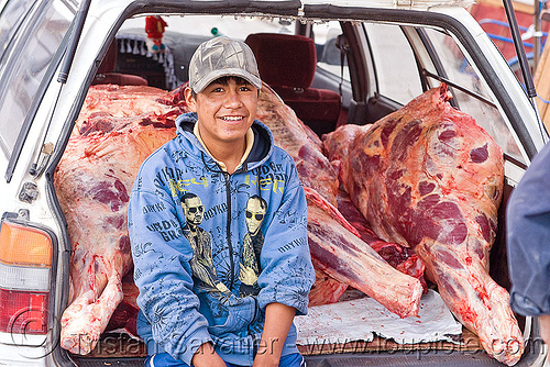beef meat delivery, beef, bolivia, butcher, car, carcass, delivery, man, meat market, meat shop, raw meat