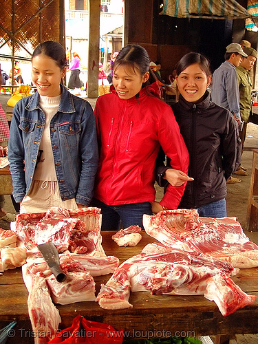 beef meat on a market - vietnam, asian woman, asian women, girls, meat market, meat shop, people, quản bạ, raw, raw meat, tam son, tám sơn