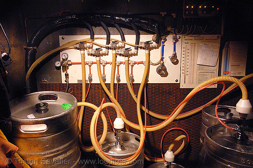 beer kegs and distribution system in a bar (paris), alcohol, beer kegs, draft beer, local bar, pipes, pressure, valves