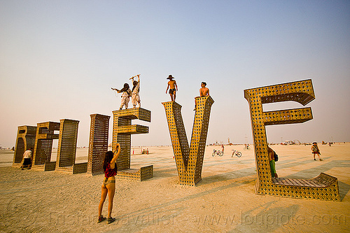 BELIEVE - giant letters scupture - burning man 2013, art installation, believe, big words, burning man, letters, metal sculpture