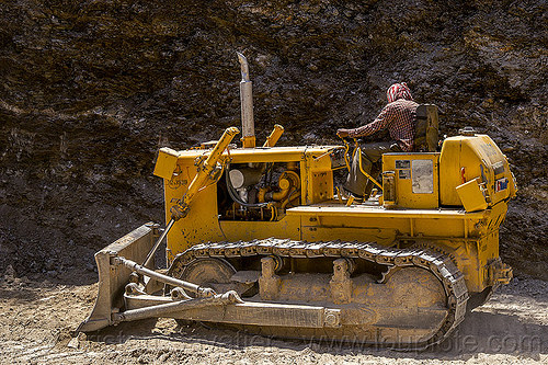BEML BD50 bulldozer (india), at work, bd50, beml, bulldozer, india, landslide, man, road construction, roadwork, worker, working
