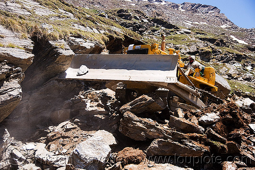 BEML BD80 bulldozer - manali to leh road (india), at work, bd80, beml, bulldozer, dozer, groundwork, heavy equipment, hydraulic, machinery, road construction, roadworks, rohtang pass, rohtangla, rubble, working