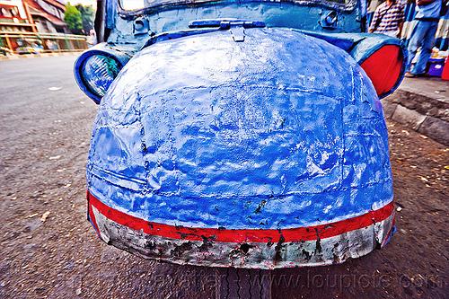 bemo hood - daihatsu midget three-wheeler, autorickshaw, becak, bemo, daihatsu midget, headlights, hood, jakarta, java, midget i, motor, rickshaw, street, three wheeler
