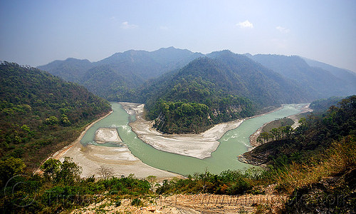 bend of the teesta river - west bengal (india), bend, forest, hills, india, panorama, river bed, teesta river, tista, valley, west bengal