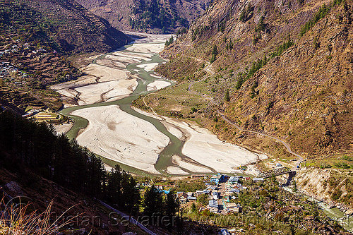 bhagirathi river bed on the way to gangotri (india), bhagirathi river, bhagirathi valley, bridge, india, mountains, river bed, road, sunagar, village