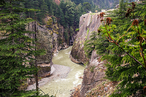 bhagirathi river in narrow canyon (india), bhagirathi river, bhagirathi valley, canyon, cliffs, gorge, india, mountains, river bed