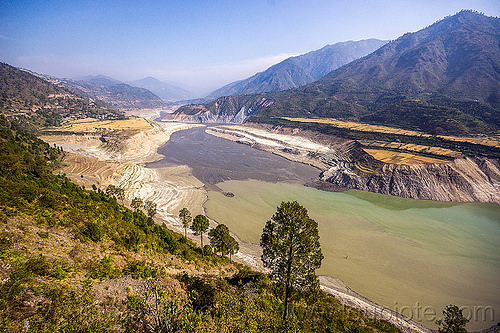 bhagirathi river - tehri artificial lake (india), artificial lake, bhagirathi river, bhagirathi valley, mountains, reservoir, river bed, tehri lake, water