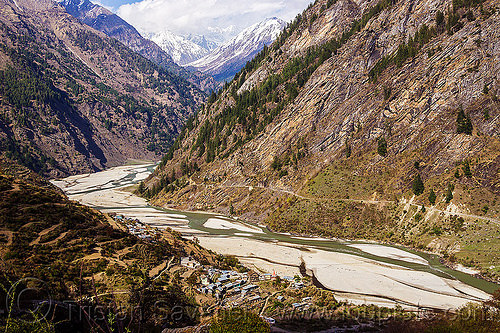 bhagirathi river valley near sunagar (india), bhagirathi river, bhagirathi valley, india, mountains, river bed, sunagar, village