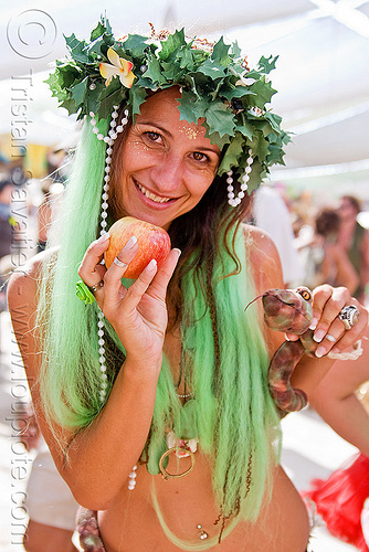 biblical eve with apple and snake, apple, biblical, burning man, crown, eve, green wig, headdress, leaves, maude, temptation, toy snake, woman