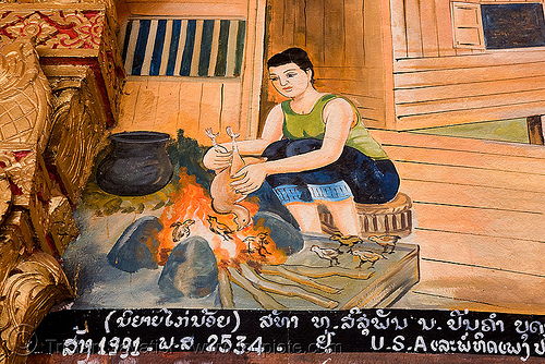 biblical scene on temple - luang prabang (laos), biblical, buddhism, buddhist temple, burned, chicjen, chicks, cooked, fire, image, luang prabang, painting, scene