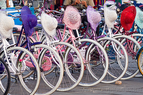 bicycle and hat rental, bicycle rentals, bicycles, bikes, eid ul-fitr, fatahillah square, hats, jakarta, java, taman fatahillah