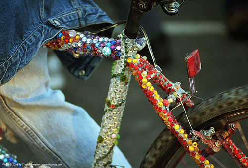 bicycle decorated with rhinestones (san francisco), bike, decorated bicycle, rhinestones