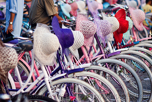 bicycles and hats - for rent, bicycle rentals, bicycles, bikes, eid ul-fitr, fatahillah square, hats, indonesia, jakarta, taman fatahillah