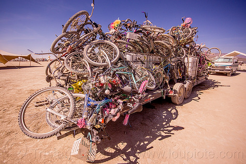 bicycles on trailer - exodus - burning man 2015, bicycles, bikes, burning man, exodus, heap, many, stack, trailer