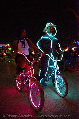 bicycles with EL-wire - burning man 2007, art, burning man, el-wire costumes, electroluminescent wire, night