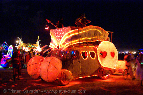 big bunny art car by jon levy (from utah) - burning man 2007, art car, big bunny, burning man, jon levy, night