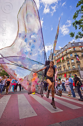 big butterfly costume - jumping, butterfly costume, festival, gay pride, jump, man, paris, street, wings