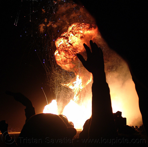 big propane gas explosion - burning man 2015, burn, fire, flames, night of the burn, people, silhouettes, the man