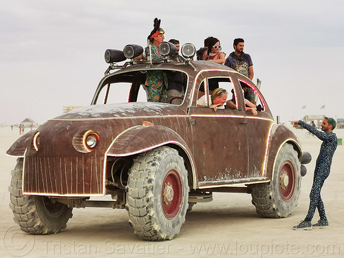 big red art car - burning man 2019, big red art car, burning man, mutant vehicles, vw beetle art car