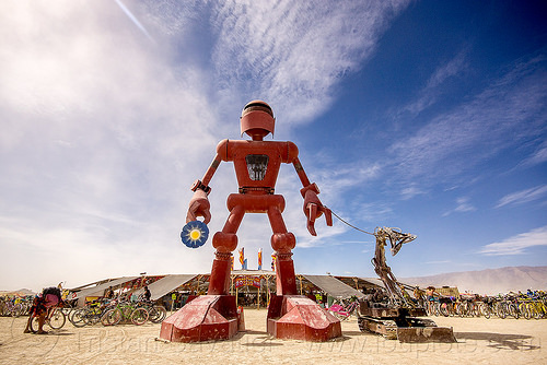 big red robot - becoming human - burning man 2015, art, art installation, center camp, christian ristow, giant, metal, sculpture, standing, statue, steel