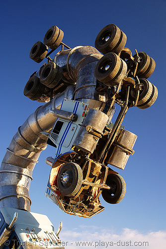 big rig jig - tractor trailers - semi trucks, art, art installation, artic, articulated lorry, burning man, semi-trailer, semi-truck, tractor trailer