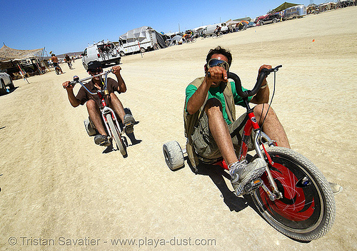 big wheel tricycles - trikes - burning man 2007, big wheel, drift trikes, man, tricycles, trike-drifting