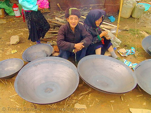 big woks at the market - vietnam, asian woman, hill tribes, indigenous, man, mèo vạc, old, stall, street market, street seller, vietnam
