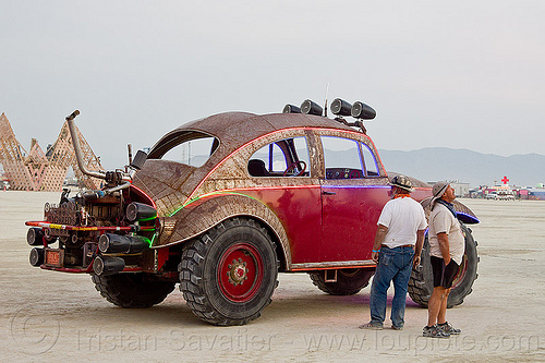 bigred beetle - burning man 2013, art car, burning man, men, mutant vehicles