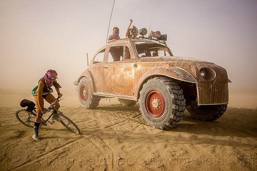 bigred - VW beetle art car - burning man 2015, beetle art car, bicycle, bigred art car, dust storm, ruth, volkswagen, vw beetle, white out