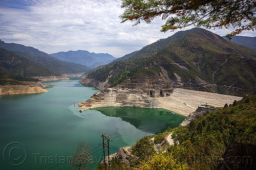 bihlangna river and tehri dam (india), artificial lake, bhagirathi river, bhagirathi valley, bihlangna river, bihlangna valley, hydro electric, india, mountains, reservoir, tehri dam, tehri lake