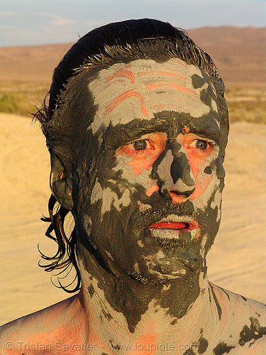 bill weir - mud mask (trego hot springs, black rock desert, nevada), man, mud bath, muddy, people, skin care