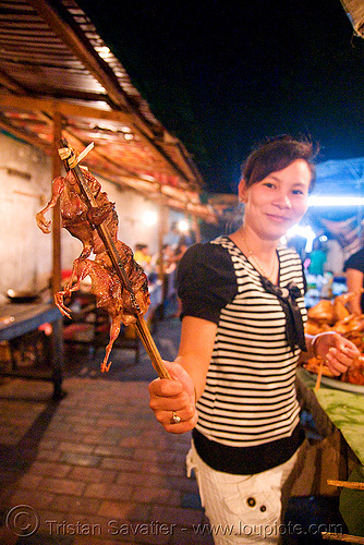 birds on a stick - luang prabang (laos), birds, brochette, cooked, food, laos, luang prabang, quails, roasted, stick
