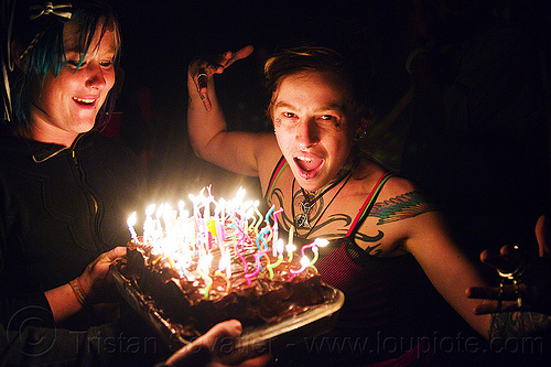 birthday cake with burning candles, birthday cake, birthday candles, fire, haley, leah, night, women