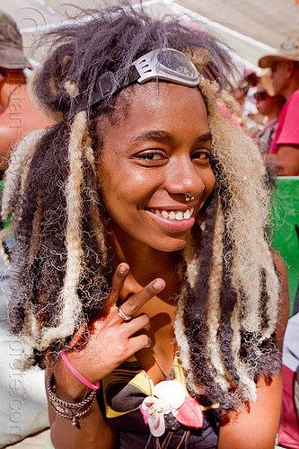 black and blond dreadlocks - burning man 2012, bracelets, dreads, goggles, nose piercing, people, septum piercing, toni, woman