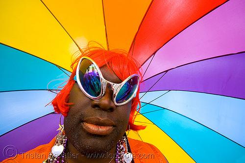gay pride 2008. gay pride festival. rainbow colors. red wig. SF gay pride