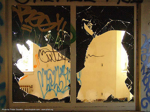 black-glass - window - abandoned hospital (presidio, san francisco) - phsh, abandoned building, abandoned hospital, decay, graffiti, presidio hospital, presidio landmark apartments, trespassing, urban exploration, window