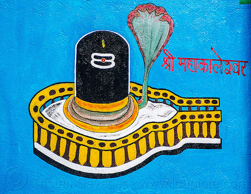 black lingam - five-headed naga snake - hindu symbolism (india), cobra, five-headed, hindu temple, hinduism, linga, naga snake, nāga snake, painting, shiva lingam, symbol, symbolism