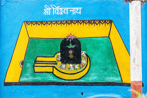 black lingam - hindu symbolism (india), flowers, hinduism, india, leaves, painting, shiva lingam, symbol, symbolism