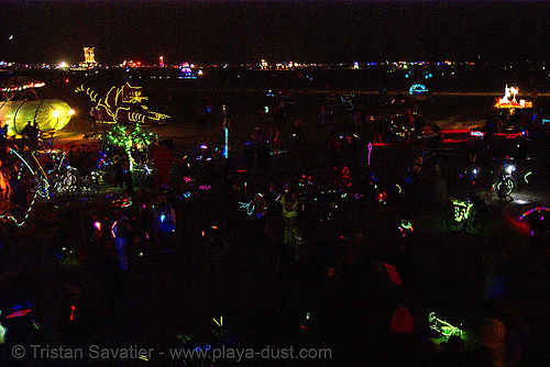 black rock city at night - burning man 2007, burning man, night