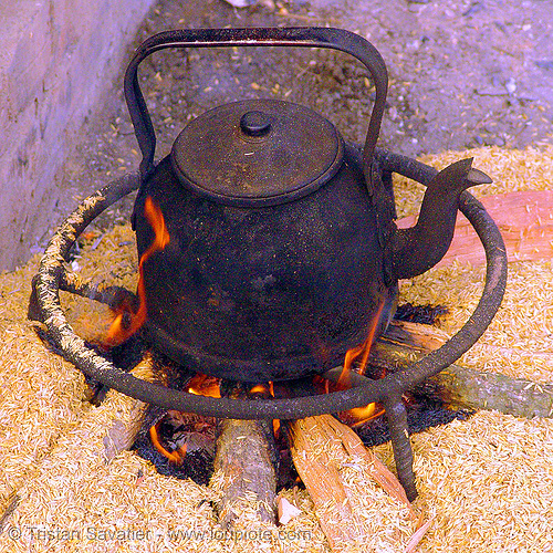 teakettle - tea pot - vietnam, black, burning, bảo lạc, fire, flames, hill tribes, indigenous, kettle, pot, teakettle