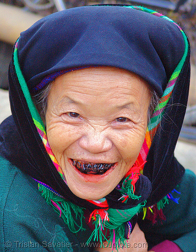 black teeth - tribe woman - vietnam, areca nut, asian woman, betel leaf, betel nut, betel quids, betelnut teeth, black teeth, black-lacquered teeth, blackened teeth, bảo lạc, cau, colorful, headdress, hill tribes, indigenous, lá trầu, mature woman, ohagura, old woman, vietnam
