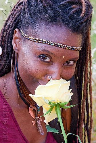 black woman with yellow rose, black woman, dreadlocks, flower, headband, lala love, nose piercing, nose ring, nostril piercing, spring training, yellow rose